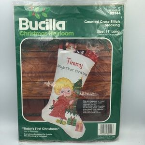 Bucilla Counted Cross Stitch baby first Christmas